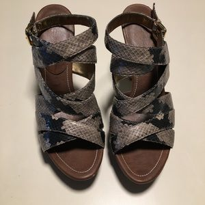 Marc Fisher Snakeskin Strappy Heel Sandals